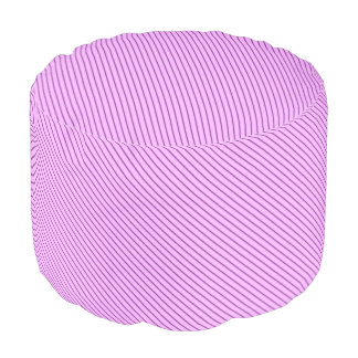 Diagonal pinstripes - orchid and purple round pouf