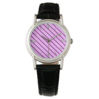 Diagonal pinstripes - orchid and purple watch