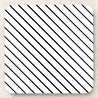 Diagonal pinstripes - white and black coaster