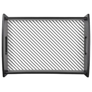 Diagonal pinstripes - white and black service tray