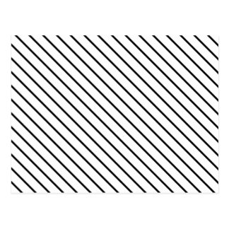 Diagonal pinstripes - white and black post cards