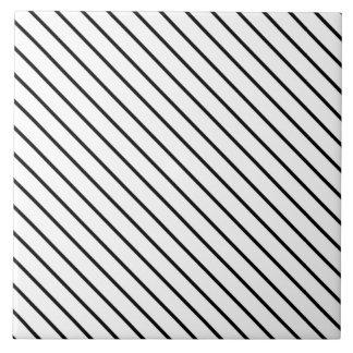 Diagonal pinstripes - white and black ceramic tile