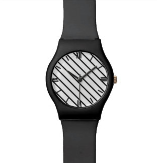 Diagonal pinstripes - white and black watches