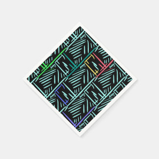 Diagonal Turquoise Slashes Memphis Abstract Disposable Napkins