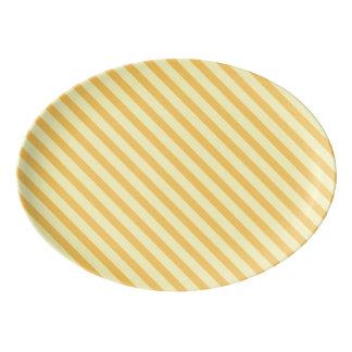 Diagonal yellow orange Stripes Porcelain Serving Platter