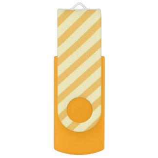 Diagonal yellow orange Stripes Swivel USB 2.0 Flash Drive