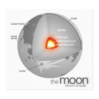 Diagram of the Internal Structure of Earth's Moon Canvas Print