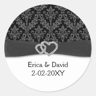 diamante damask charcoal wedding round sticker