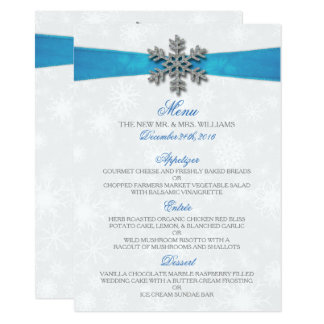 Diamante Snowflake & Blue Ribbon Winter Wedding 11 Cm X 16 Cm Invitation Card