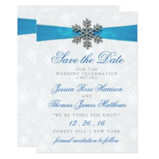Diamante Snowflake & Blue Ribbon Winter Wedding 13 Cm X 18 Cm Invitation Card