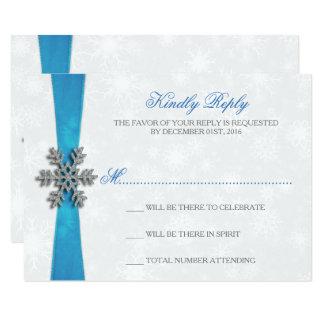 Diamante Snowflake & Blue Ribbon Winter Wedding 9 Cm X 13 Cm Invitation Card
