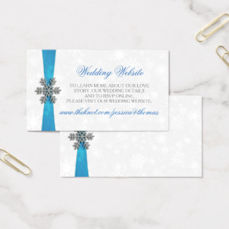 Diamante Snowflake & Blue Ribbon Winter Wedding Business Card