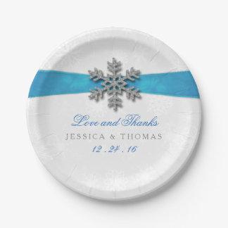 Diamante Snowflake & Blue Ribbon Winter Wedding Paper Plate