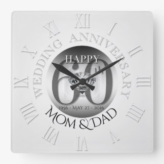 Diamond 60th Wedding Anniversary Clock Roman N