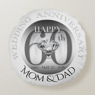 Diamond 60th Wedding Anniversary Round Pillow