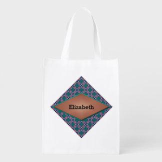 Diamond and Flower Fractal Design Reusable Grocery Bag