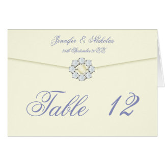 Diamond and Pearl Broach on Envelope Table Number Note Card