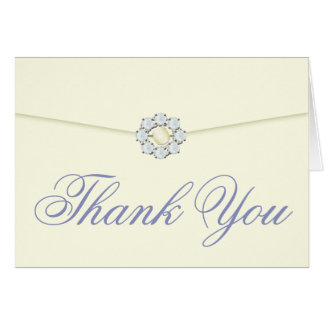 Diamond and Pearl Broach on Envelope Thank You Note Card
