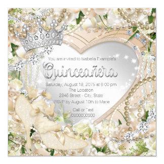 Diamond and Pearl White Rose Quinceanera 13 Cm X 13 Cm Square Invitation Card