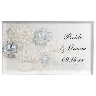 Diamond and White Pearl Buttons Wedding Table Card Holder