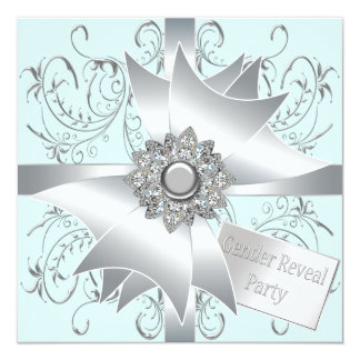 Diamond Bow Elegant Teal Blue Gender Reveal Party Card