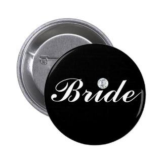 Diamond bride-black 6 cm round badge
