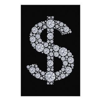 Diamond Dollar Sign Bling Stationery