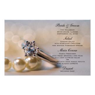 Diamond Engagement Ring and Pearls Wedding Menu