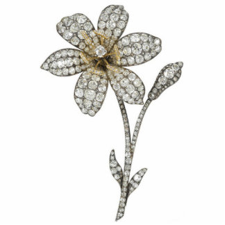Diamond Flower Pin Photo Sculpture Badge