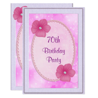 Diamond Flowers & Pearls 70th Birthday 13 Cm X 18 Cm Invitation Card