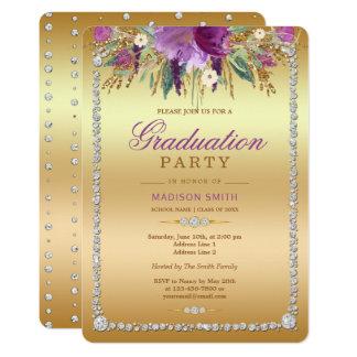 Diamond Glitter Watercolor Flowers Gold Grad Party