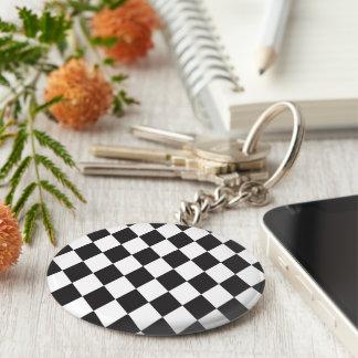 Diamond Harlequin Pattern in Black and White Basic Round Button Key Ring