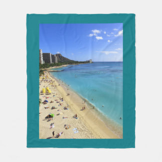 Diamond Head and Waikiki Fleece Blanket
