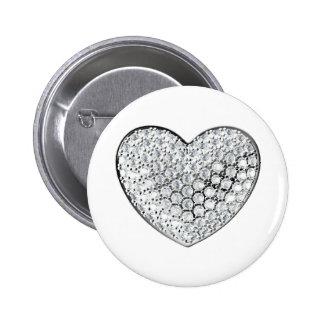 Diamond Heart 6 Cm Round Badge