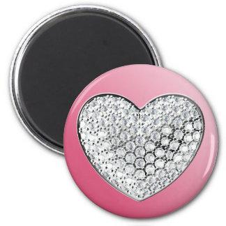 Diamond Heart 6 Cm Round Magnet