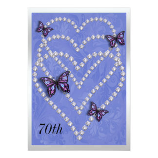 Diamond Hearts & Butterflies 70th Birthday 13 Cm X 18 Cm Invitation Card