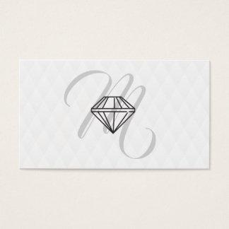 Diamond Icon / Monogram / Plush Diamond Pattern Business Card