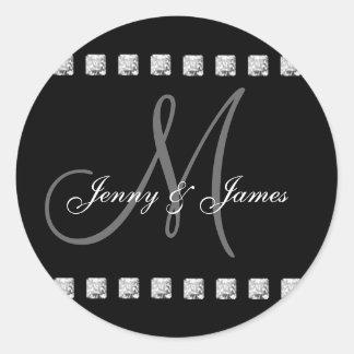 Diamond Monogram Names Wedding Stickers