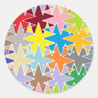Diamond Multicolor Paper Craft Patterns Round Sticker