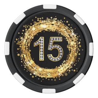 Diamond Number 15 Glitter Bling Confetti | gold Poker Chips