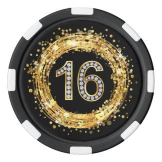 Diamond Number 16 Glitter Bling Confetti | gold Poker Chips
