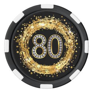 Diamond Number 80 Glitter Bling Confetti | gold Poker Chips