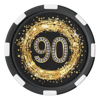Diamond Number 90 Glitter Bling Confetti | gold Poker Chips