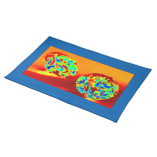 DIAMOND ON FIRE WITH BLUE TRIM LARGE PLACEMATS