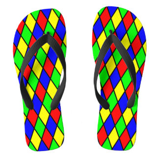 Diamond pattern multicolor Pair of Flip Flops