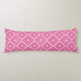 Diamond Pattern Pink and White Body Cushion
