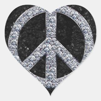 Diamond Peace Sign Heart Sticker