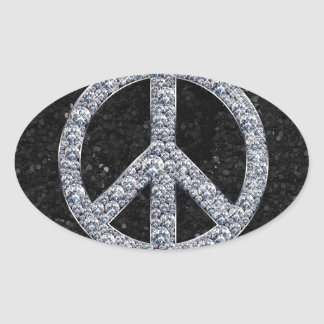 Diamond Peace Sign Oval Sticker