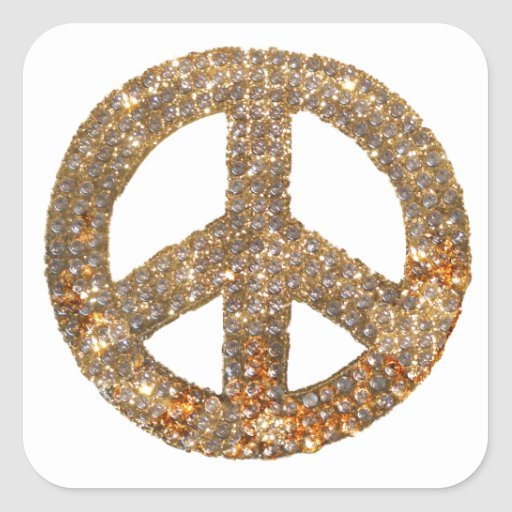 Diamond Peace Sign Square Stickers