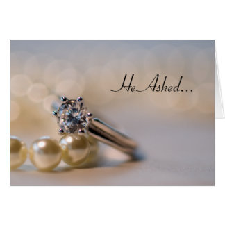 Diamond Ring and Pearls Engagement Announcement Greeting Card